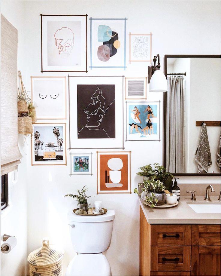 wall gallery in bathroom